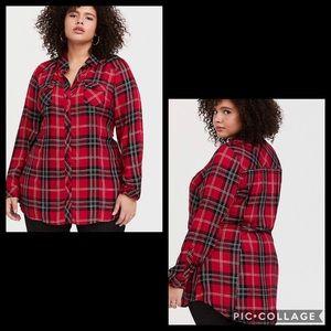 TORRID•twill plaid tunic top